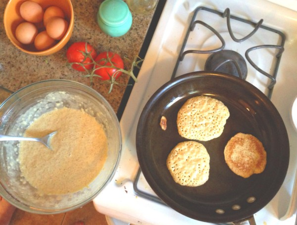 Making quinoa pancakes